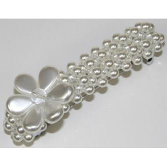Sponky do vlasů bižuterie - 128G12672 - 00 - Bílé perly - platina