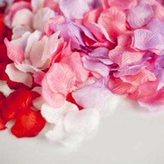 Umělé plátky růží, 100ks plátků v balení. Alternativa svatební rýže, vhodné na výzdobu uličky či dekoraci svatební tabule.